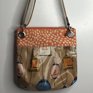 Fossil cross body coated purse bag birds birdcage